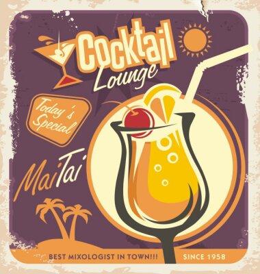 Plakát Retro Design plakát k jedné z nejoblíbenějších koktejlů