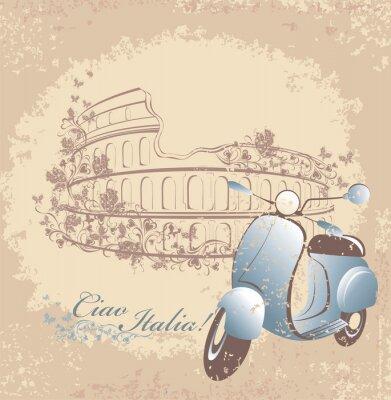 Plakát Retro karta cestování do Itálie. Vintage skútr a Kolosea v Římě