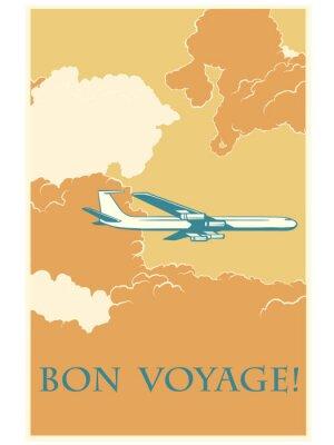 Plakát Retro letadlo Bon voyage