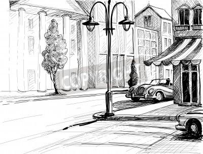 Plakát Retro město skica, ulice, budovy a stará auta vektorové ilustrace, tužka na papíře styl