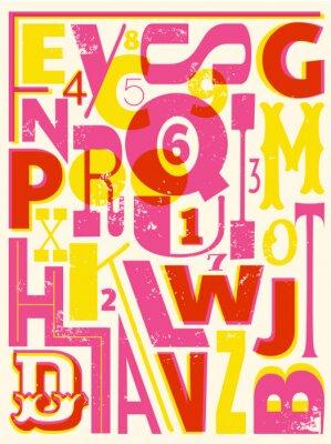 Plakát Retro Písmena a čísla