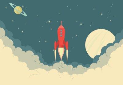 Plakát Retro Rocket Spaceship