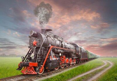 Plakát Retro Sovětský parní lokomotiva