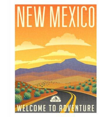 Plakát Retro styl cestování plakátu nebo nálepka. Spojené státy americké, New Mexico pouštní horské krajiny.