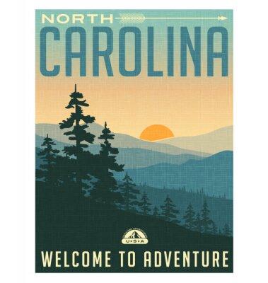 Plakát Retro styl cestování plakátu nebo nálepka. Spojené státy americké, Severní Karolína, Great Smoky Mountains