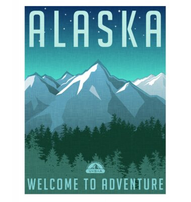 Plakát Retro styl cestovní plakát série. Spojené státy, Aljaška Horské krajiny.