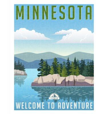 Plakát Retro style travel poster or sticker. United States, Minnesota scenic lake