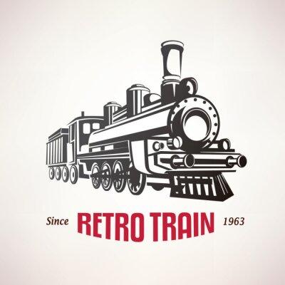 Plakát retro vlak, vinobraní vektor symbol, symbol, šablona štítek
