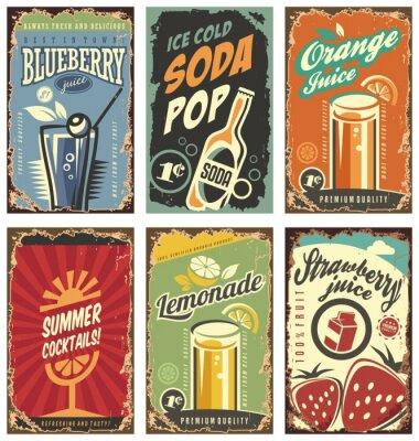Plakát Retro zeď dekor s šťávy a nápoje set