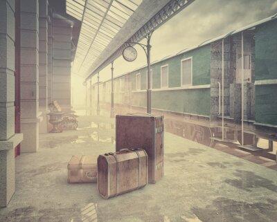 Plakát retro železniční nádraží
