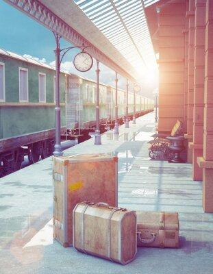 Plakát retro železniční stanice