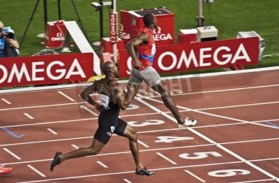 Plakát ŘÍM. 31.května: Usain Bolt běží a vyhrává 100m rychlostní závod Golden Gala v Olympijský stadion 31. května 2012 v Římě