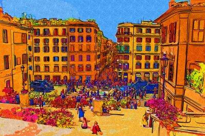 Plakát Řím Itálie výtvarné ilustrační