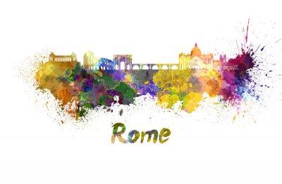 Plakát Řím panorama v akvarelu