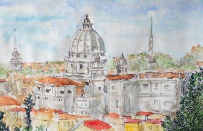Plakát Řím Přehled akvarel