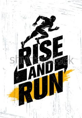 Plakát Rise And Run. Koncept Marathon Sport Event Motivace Citace Poster. Aktivní životní styl Typografie Ilustrace na pozadí grunge s texturami