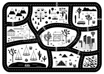 Plakát Road, Mountains and Woods Adventure Map. Kids play carpet or poster with native americans tribal elements. Trendy black and white Scandinavian Style. Vector illustration