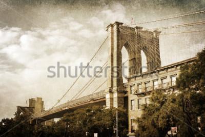 Plakát ročník stylu Brooklynského mostu v New Yorku