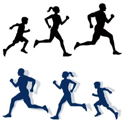 Plakát Rodina jogging siluety