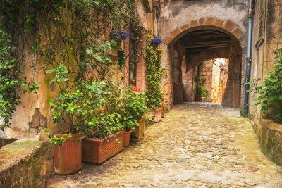 Plakát Rohy toskánských středověkých měst v Itálii