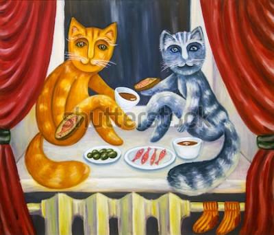 Plakát Romantická kočičí večeře. Kočka a paní kočka spolu povečeřet na parapetu. Domácí zvířata v interiéru bytu. Olejomalba. Ručně vyráběné kresby.