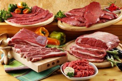 Plakát rozmanité syrové hovězí maso