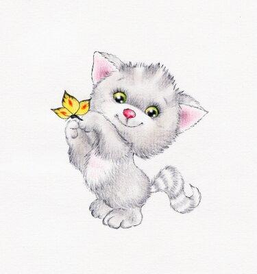 Plakát Roztomilá kočička s motýl