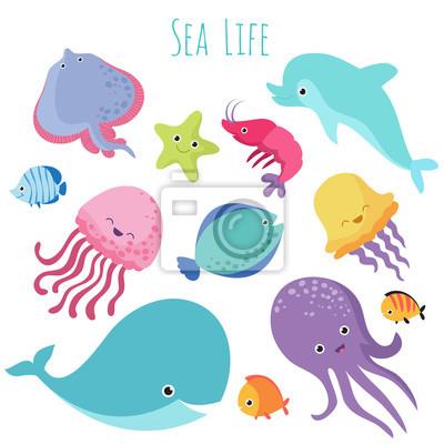 Roztomile Baby Morske Ryby Vektorove Kreslene Kolekce Podvodnich