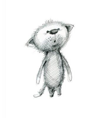 Plakát Roztomilé kotě překvapen. Ruční kreslení skica na bílém pozadí.