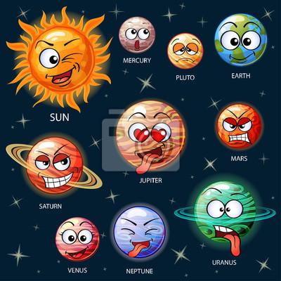 Roztomile Kreslene Planety Slunecni Soustavy Slunce Merkur