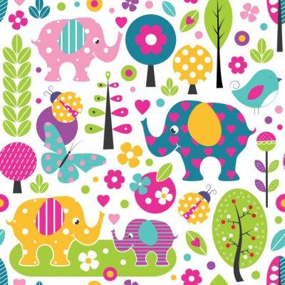 Plakát roztomilé sloni, berušky, motýly a ptáci v barevném vzoru lesní