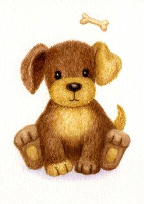 Plakát Roztomilé štěně, akvarel.