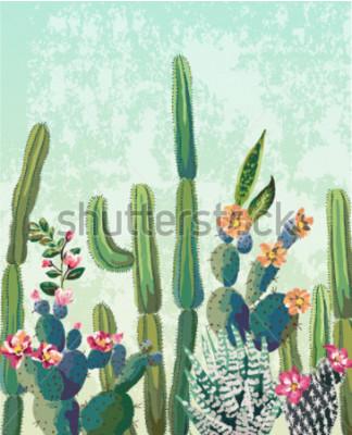 Plakát Roztomilé sukulenty kaktus vektorový vzor