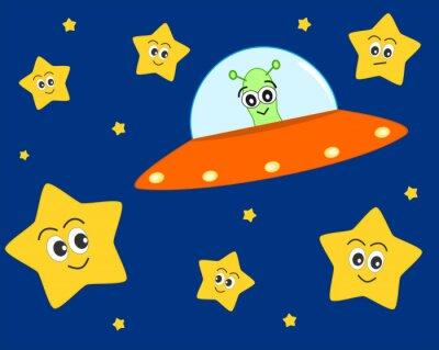 Plakát roztomilé UFO mimozemšťan kreslený v prostoru se sladkou krásné hvězdami vektorové ilustrace pro děti