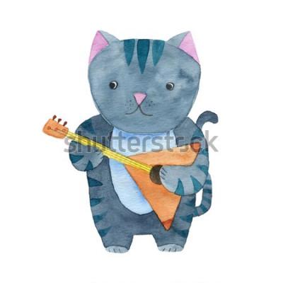 Plakát Roztomilý akvarel kočka hraje na balalajku nebo kytaru