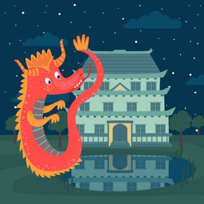 Plakát Roztomilý červený drak vedle hradu v noci, pohádkový příběh pro děti vektorové ilustrace