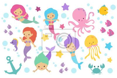 Roztomily Kresleny Morske Panny Morskych Zivocichu A Oceanskych