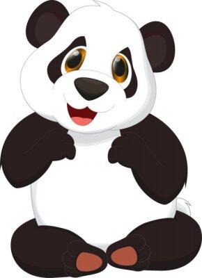 Plakát roztomilý panda karikatura