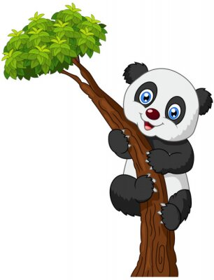 Plakát Roztomilý panda karikatura lezení strom