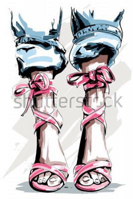 Plakát Roztomilý ručně tažené nohy v botách. Krásné letní boty. Módní doplňky. Skica. Vektorové ilustrace.