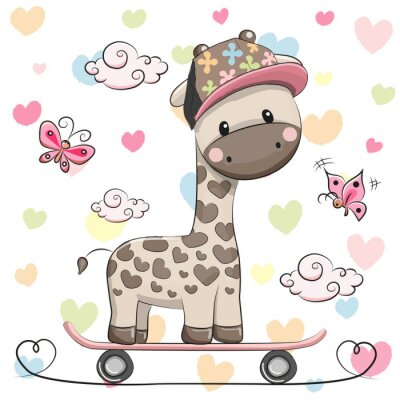 Plakát Roztomilý žirafa s skateboard