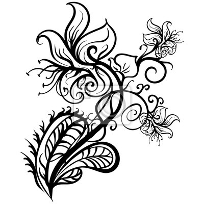 Rucne Kreslene Kvetiny Lilie Tetovani Nacrtek Vektor Plakaty Na Zed