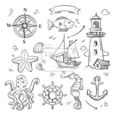 Rucne Kreslene More Morske Objekty A Ocean Zvirata Vektorove