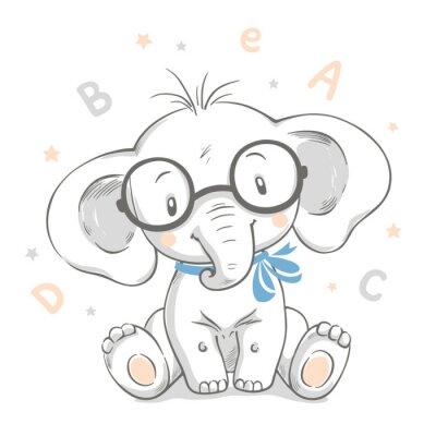 Plakát Ručně kreslenou vektorové ilustrace roztomilé dítě slona ve velkých brýlích.