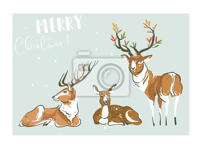 Plakát Ručně kreslený vektor abstraktní zábava Veselé vánoční čas kreslené ilustrace kolekce s mnoha jelenů a raindeers izolovaných na modrém pozadí