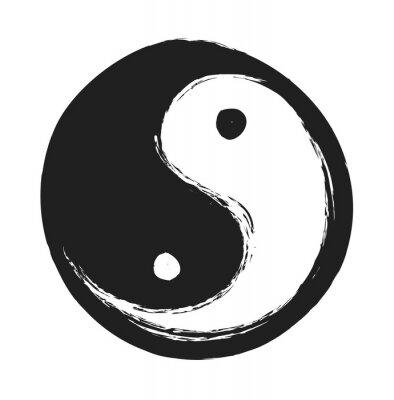 Plakát ručně kreslenými ying yang symbol harmonie a rovnováhy, designový prvek