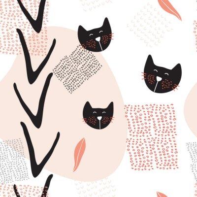 Plakát Ručně malovaná abstraktní bezešvé pozadí vzor s roztomilé kočky
