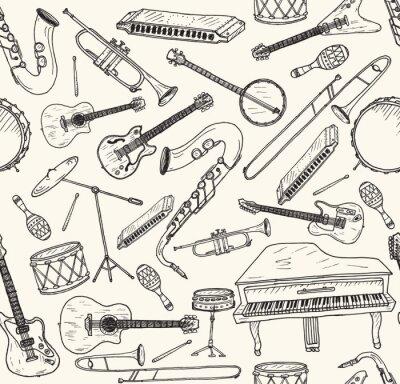 Plakát Ručně malovaná hudebních nástrojů.