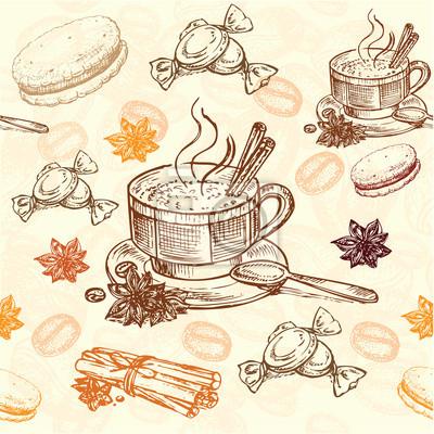 Plakát ručně malovaná káva vzor