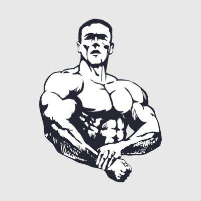 Plakát Ručně malovaná svalnatý muž - Kulturista